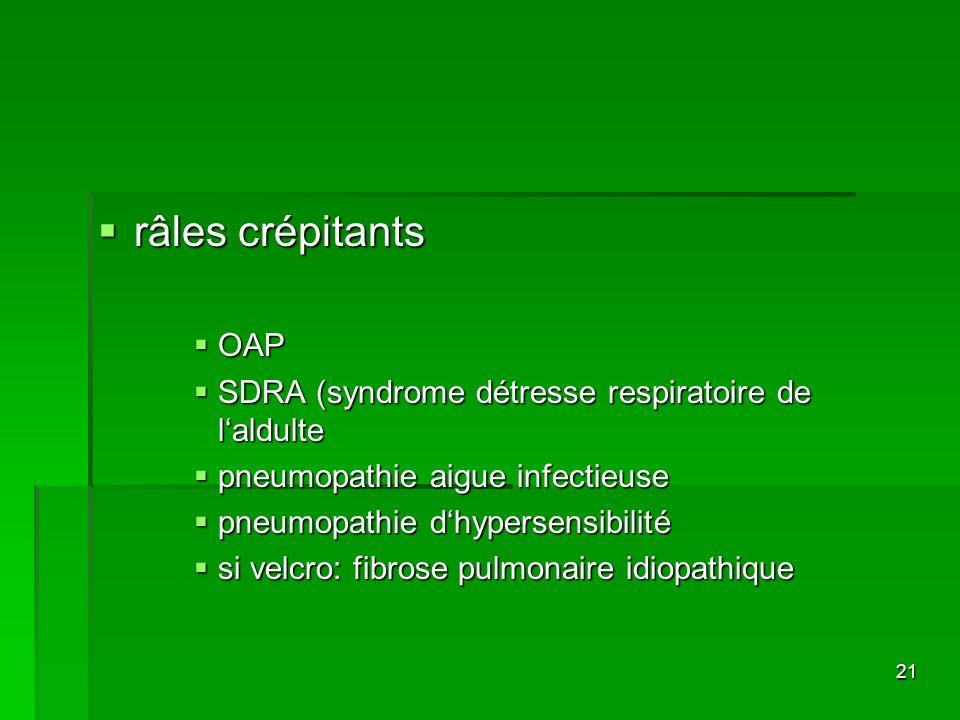 râles crépitants OAP SDRA (syndrome détresse respiratoire de l'aldulte