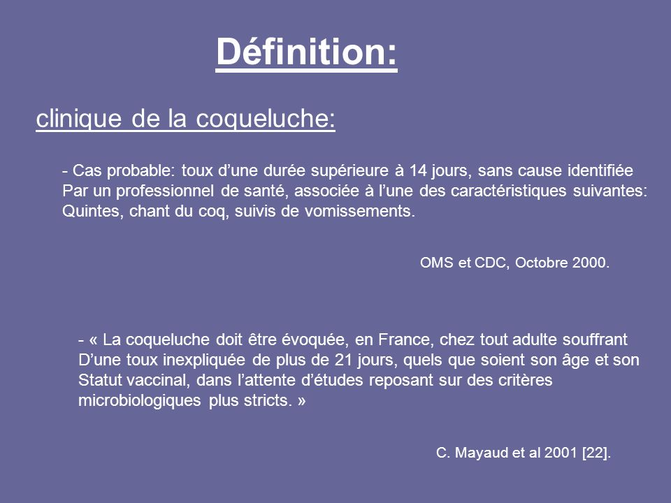 Définition: clinique de la coqueluche: