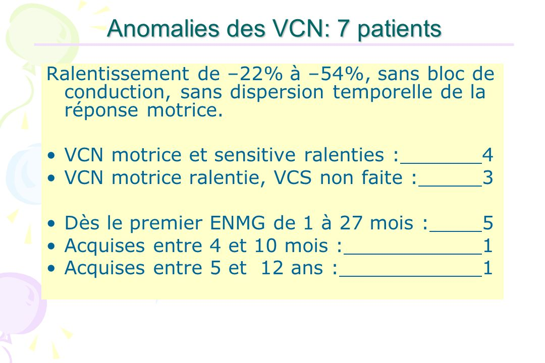 Anomalies des VCN: 7 patients