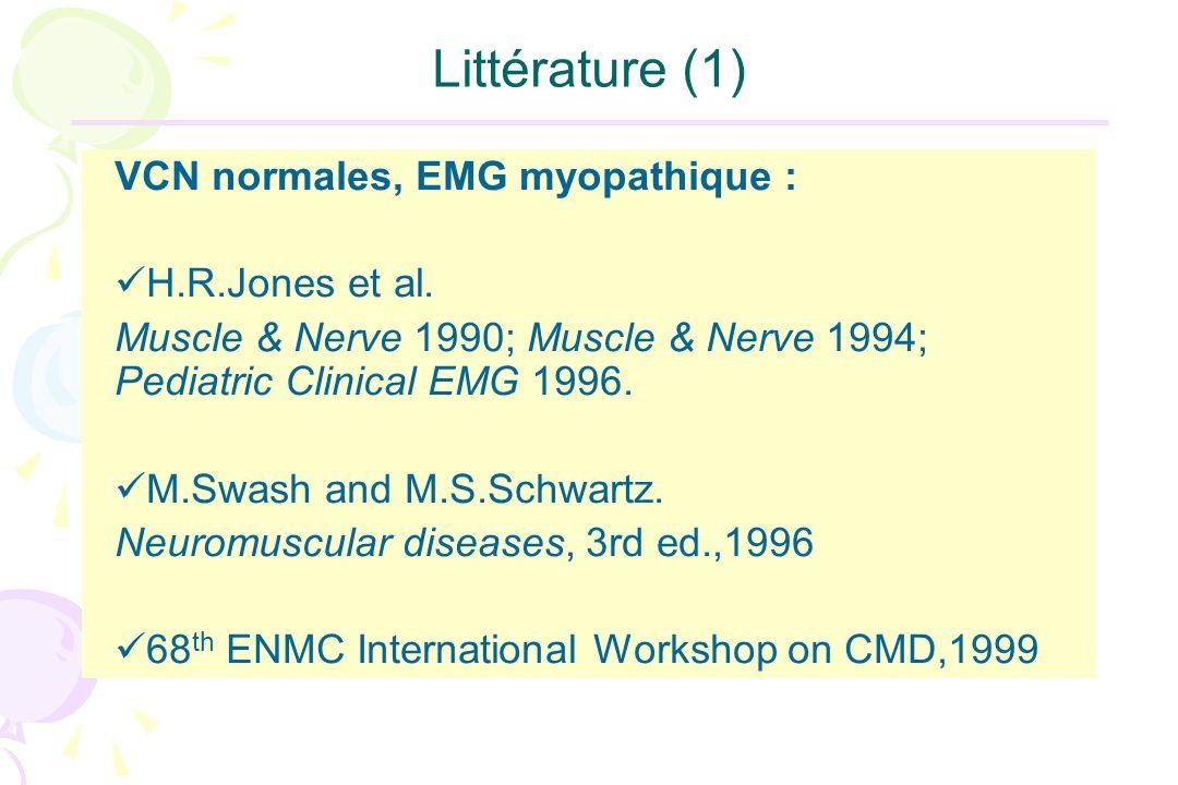 Littérature (1) VCN normales, EMG myopathique : H.R.Jones et al.