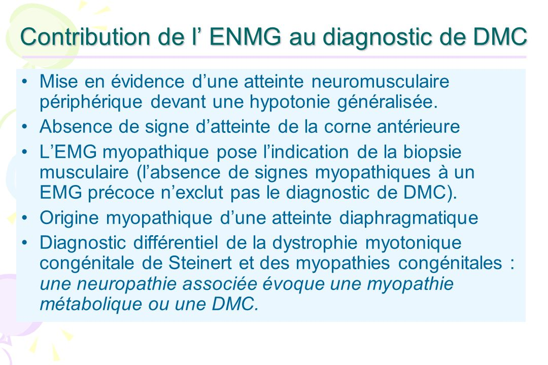 Contribution de l' ENMG au diagnostic de DMC
