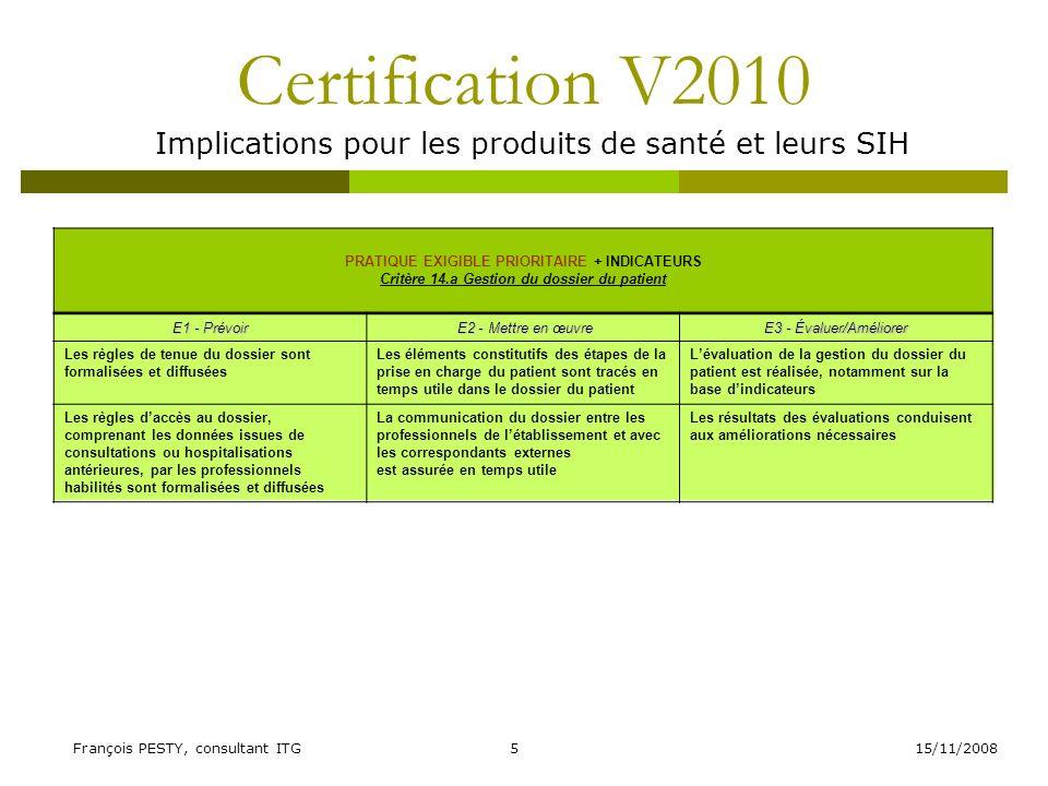 Implications pour les produits de santé et leurs SIH