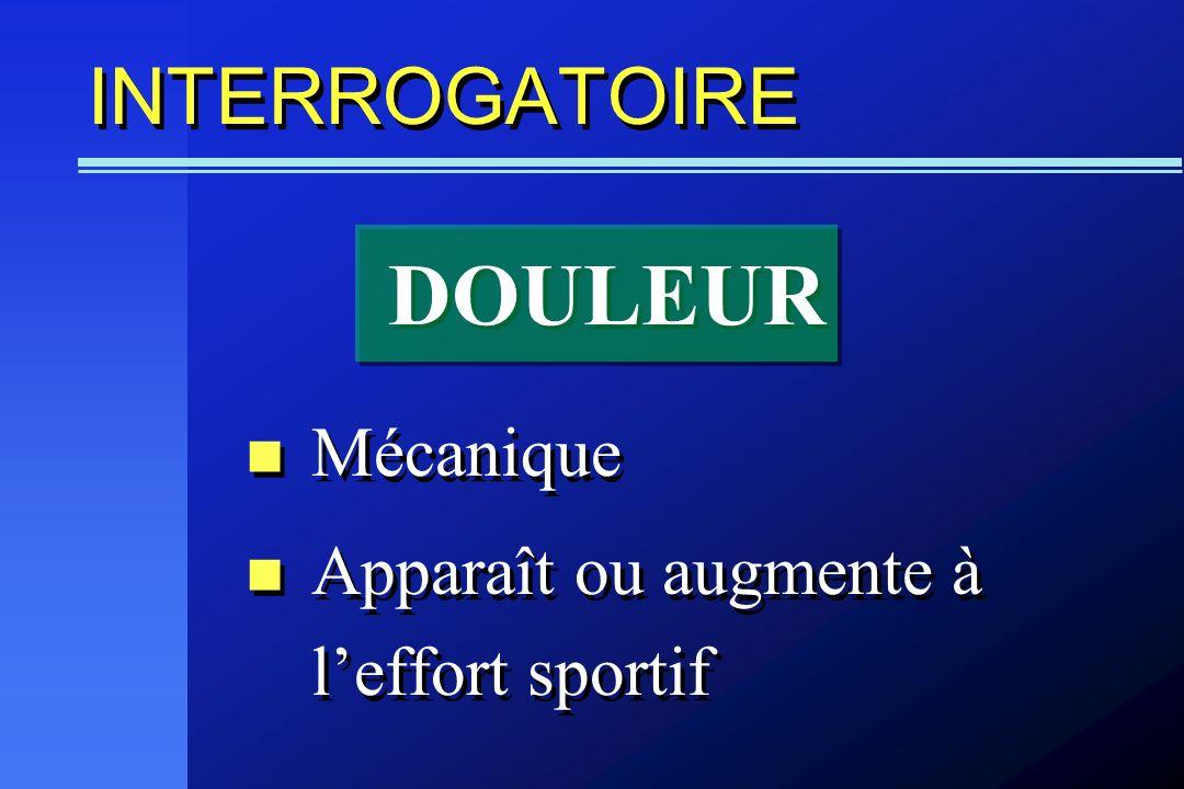 DOULEUR INTERROGATOIRE Mécanique