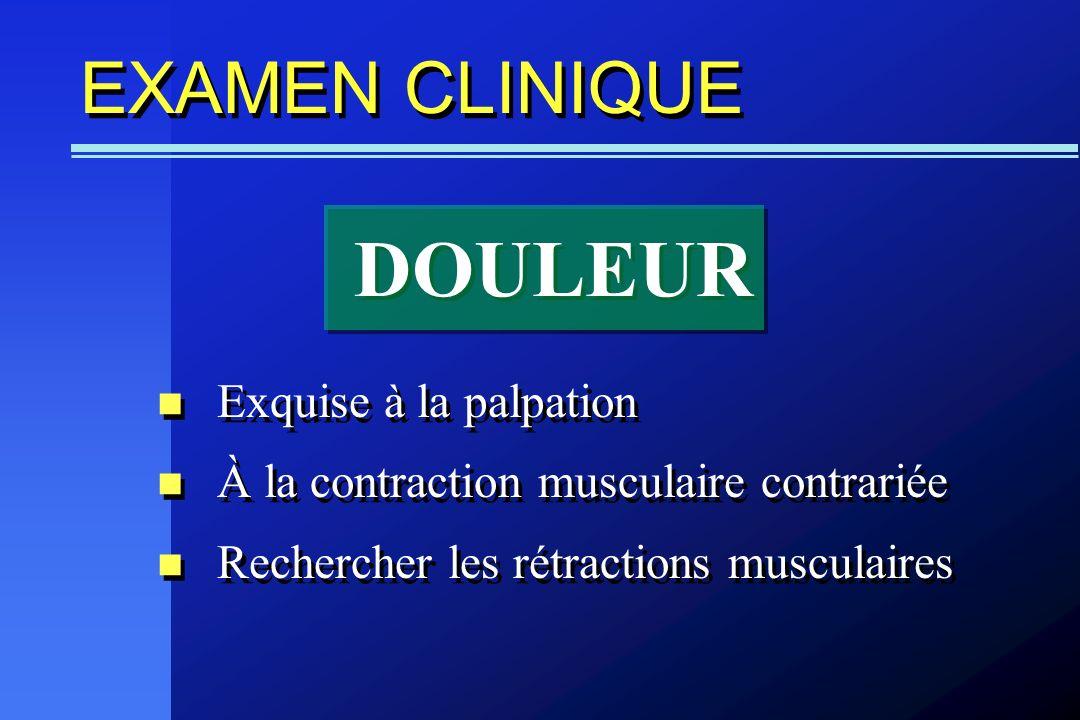 DOULEUR EXAMEN CLINIQUE Exquise à la palpation