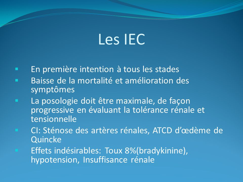 Les IEC En première intention à tous les stades