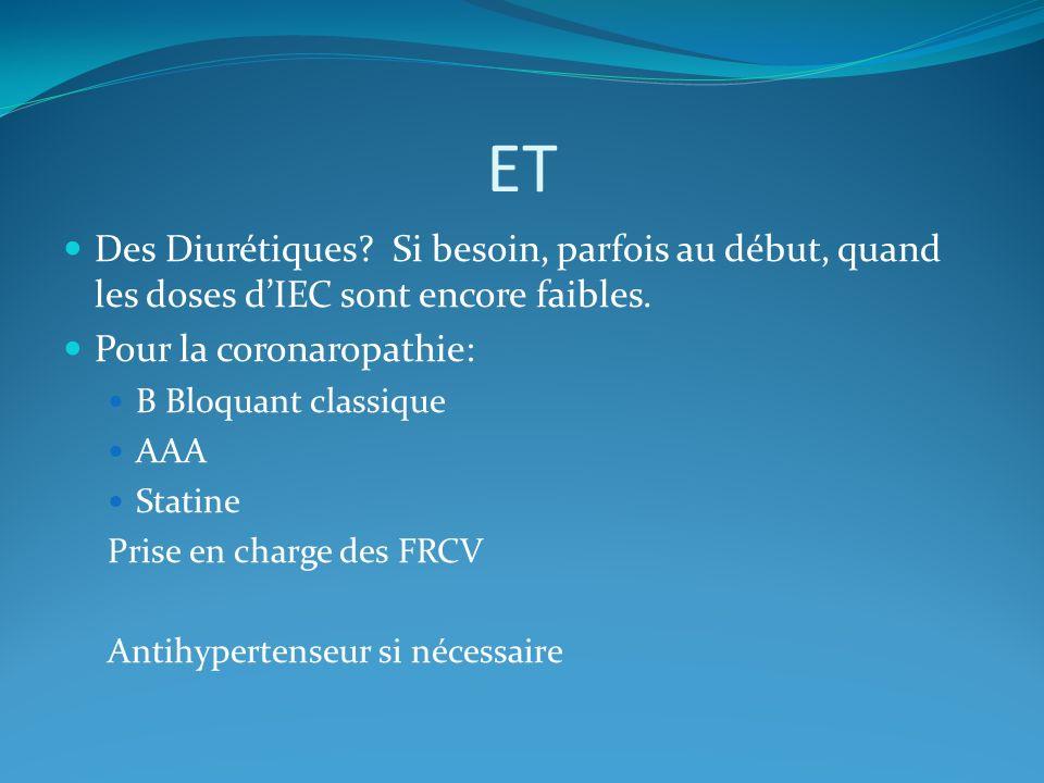 ET Des Diurétiques Si besoin, parfois au début, quand les doses d'IEC sont encore faibles. Pour la coronaropathie: