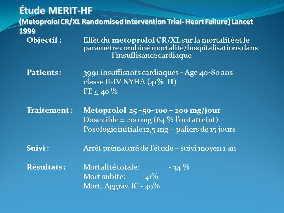 Étude MERIT-HF (Metoprolol CR/XL Randomised Intervention Trial- Heart Failure) Lancet 1999