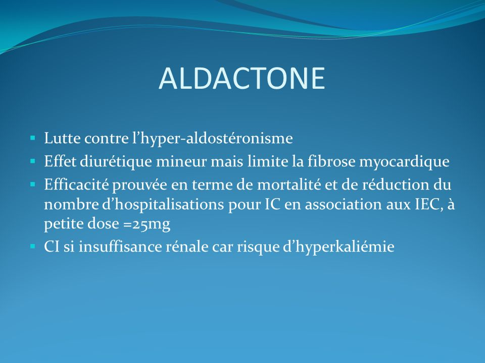 ALDACTONE Lutte contre l'hyper-aldostéronisme