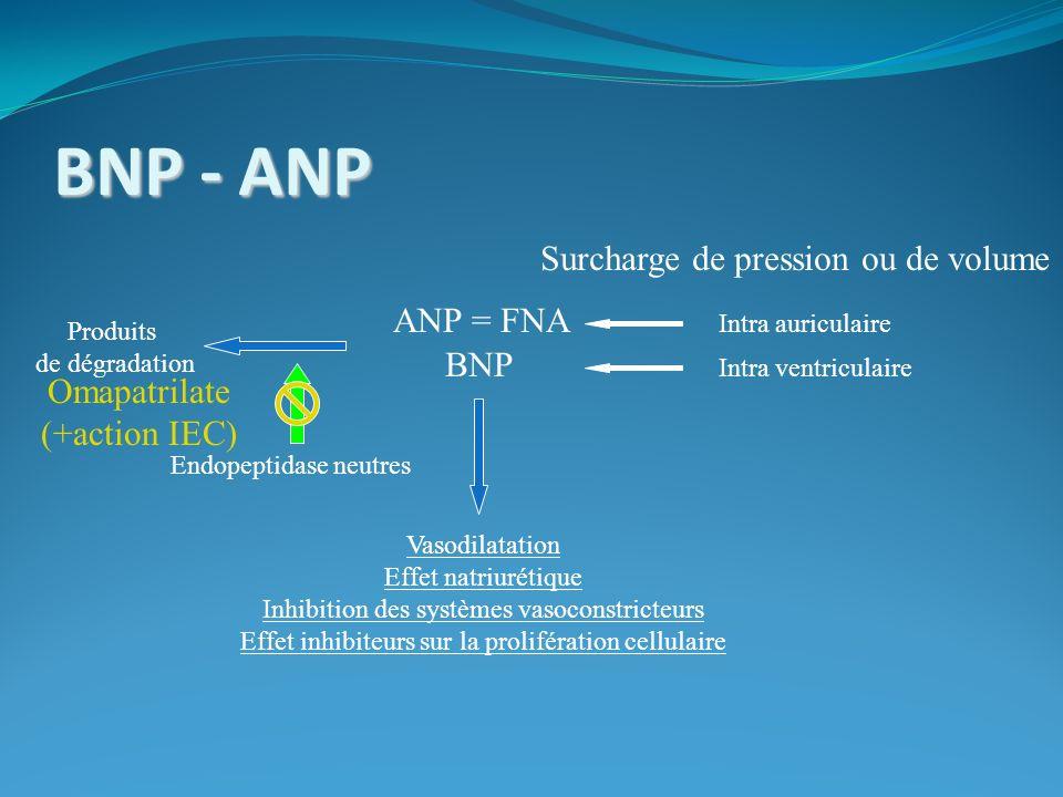 BNP - ANP Surcharge de pression ou de volume ANP = FNA BNP