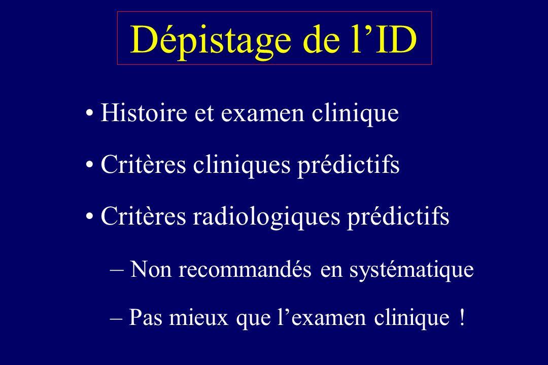Dépistage de l'ID Histoire et examen clinique