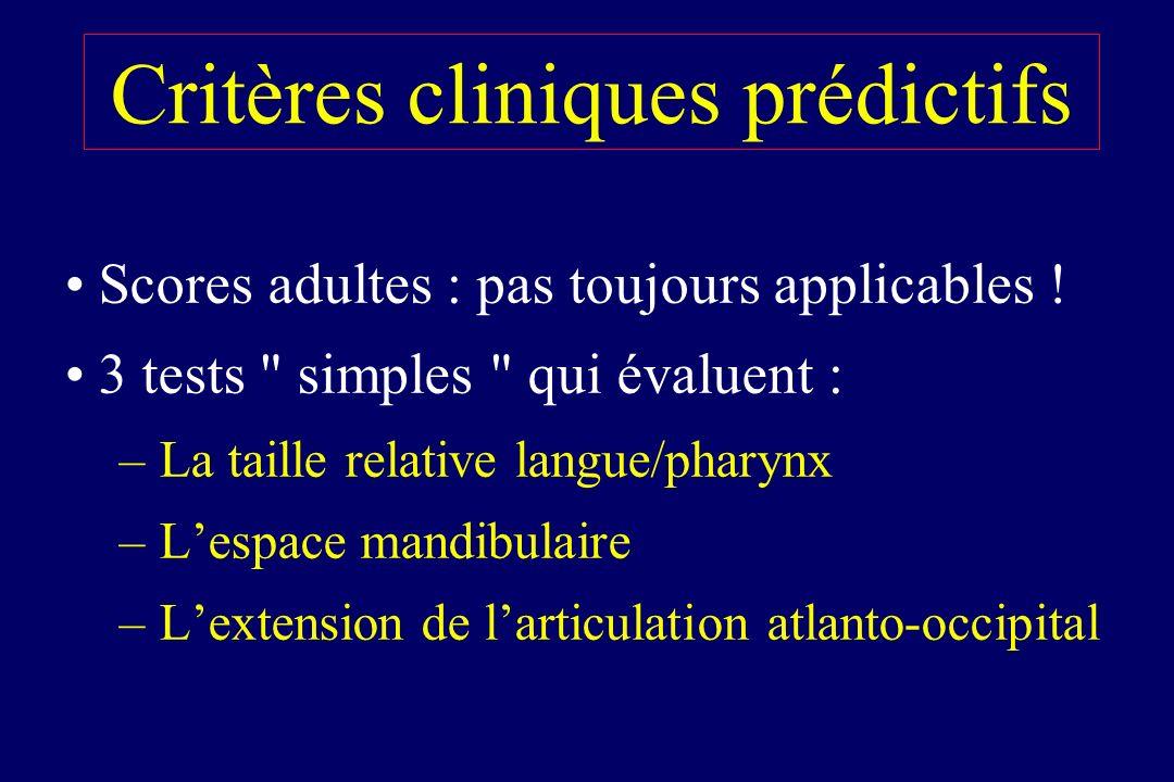 Critères cliniques prédictifs