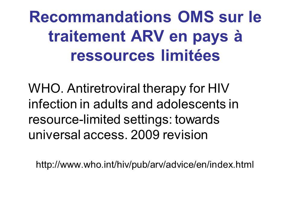 Recommandations OMS sur le traitement ARV en pays à ressources limitées