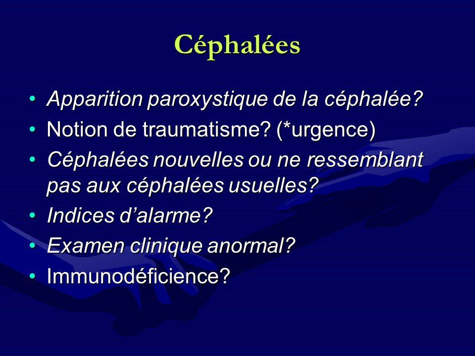 Céphalées Apparition paroxystique de la céphalée