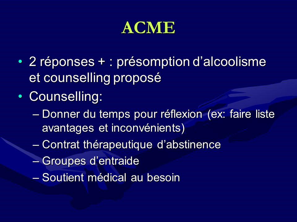 ACME 2 réponses + : présomption d'alcoolisme et counselling proposé
