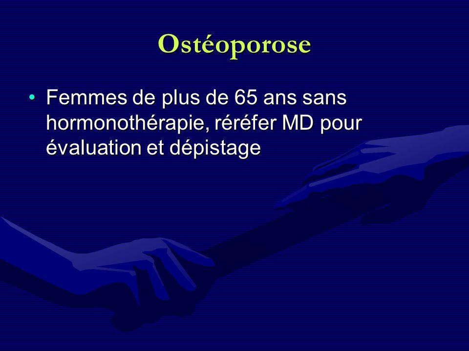 Ostéoporose Femmes de plus de 65 ans sans hormonothérapie, réréfer MD pour évaluation et dépistage