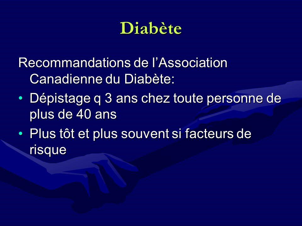 Diabète Recommandations de l'Association Canadienne du Diabète: