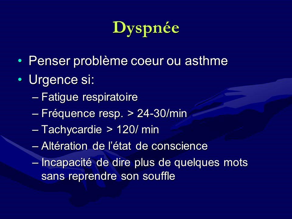 Dyspnée Penser problème coeur ou asthme Urgence si: