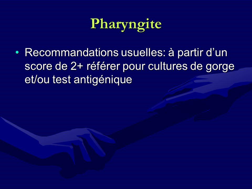 Pharyngite Recommandations usuelles: à partir d'un score de 2+ référer pour cultures de gorge et/ou test antigénique.