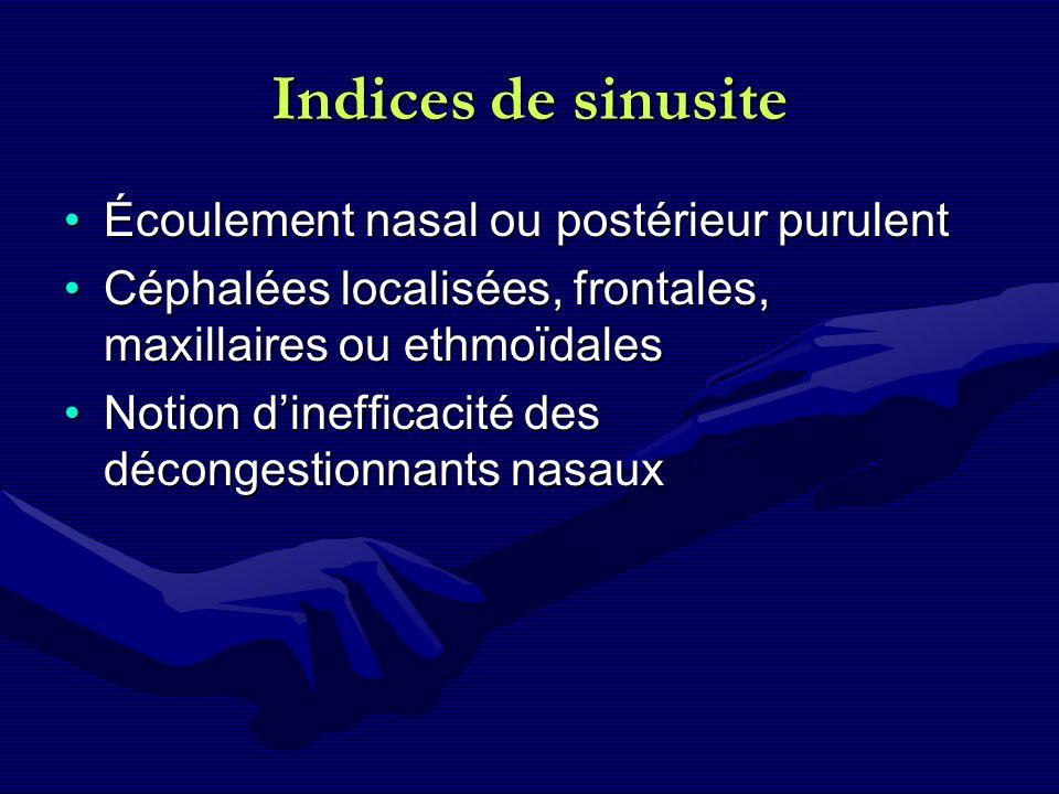 Indices de sinusite Écoulement nasal ou postérieur purulent