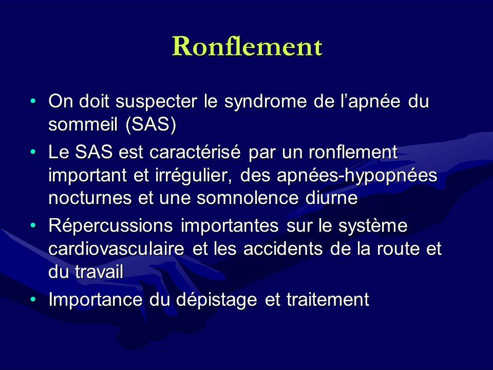 Ronflement On doit suspecter le syndrome de l'apnée du sommeil (SAS)