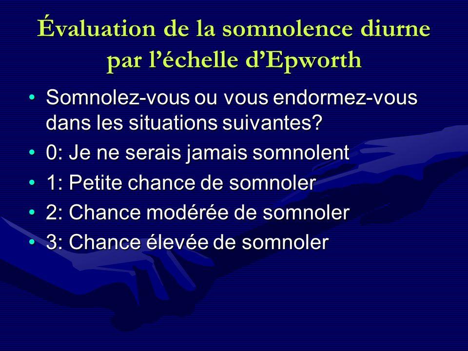 Évaluation de la somnolence diurne par l'échelle d'Epworth