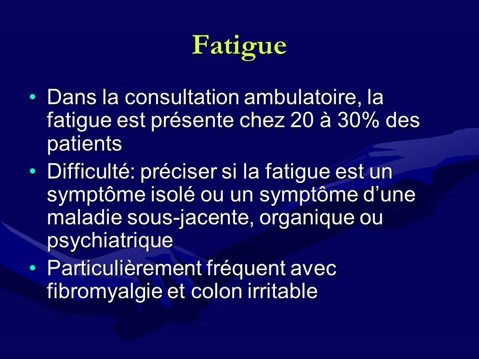 Fatigue Dans la consultation ambulatoire, la fatigue est présente chez 20 à 30% des patients.