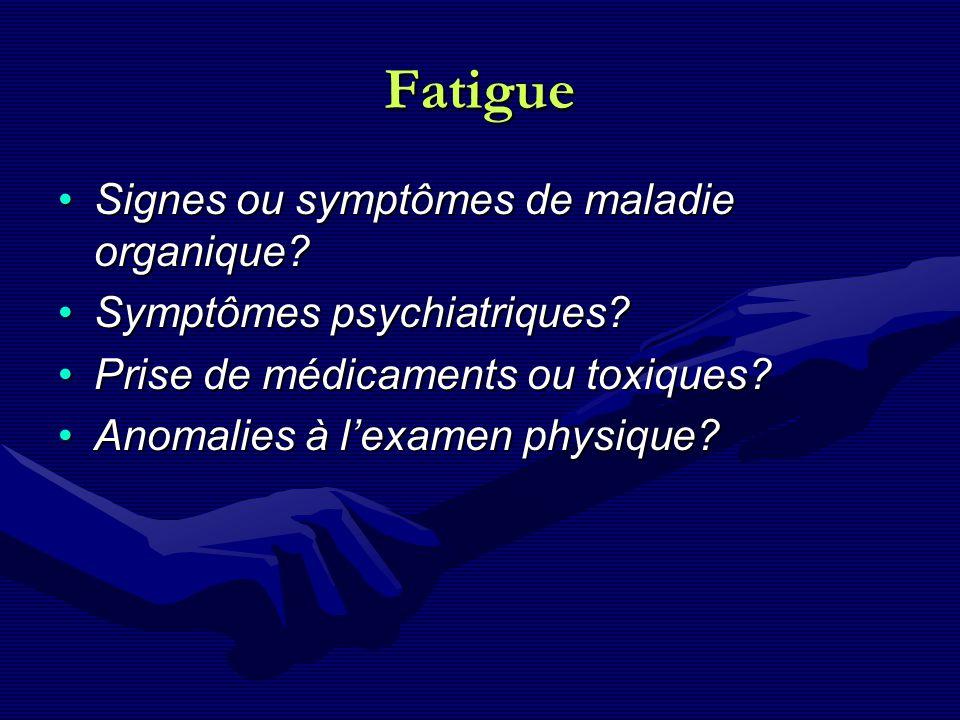 Fatigue Signes ou symptômes de maladie organique