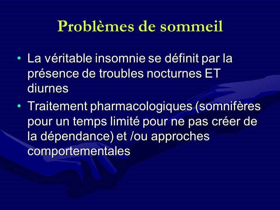 Problèmes de sommeil La véritable insomnie se définit par la présence de troubles nocturnes ET diurnes.