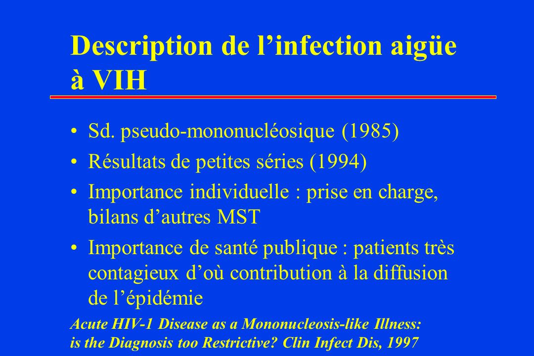 Description de l'infection aigüe à VIH