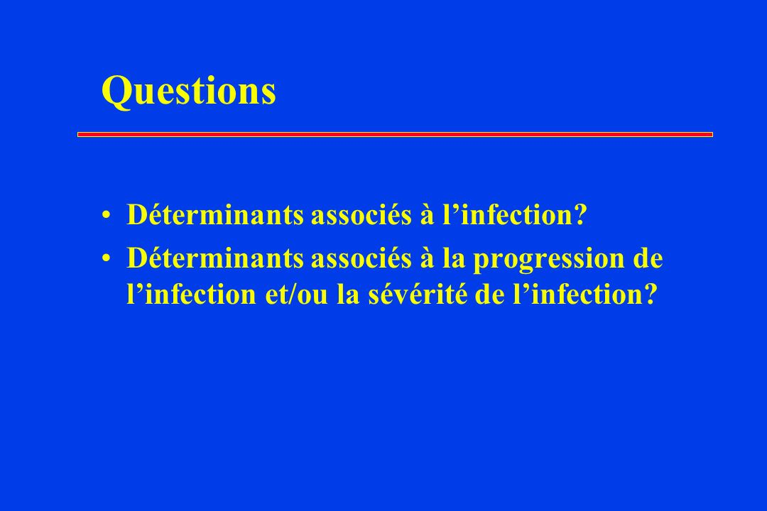 Questions Déterminants associés à l'infection