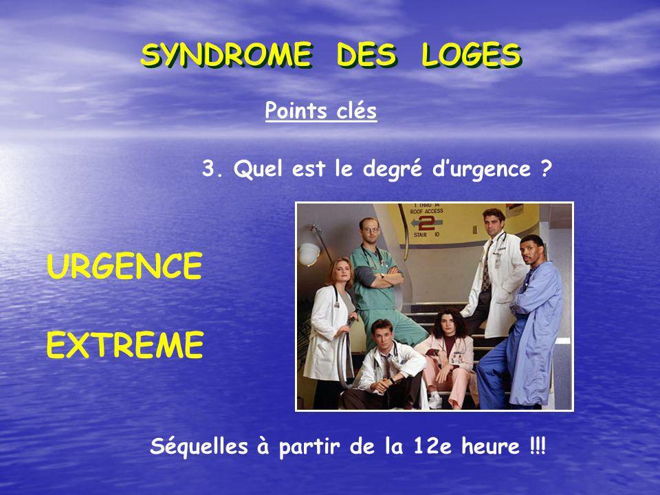 URGENCE EXTREME SYNDROME DES LOGES Points clés