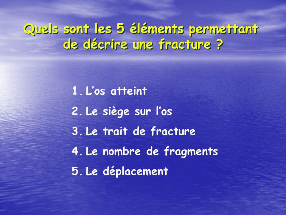 Quels sont les 5 éléments permettant de décrire une fracture