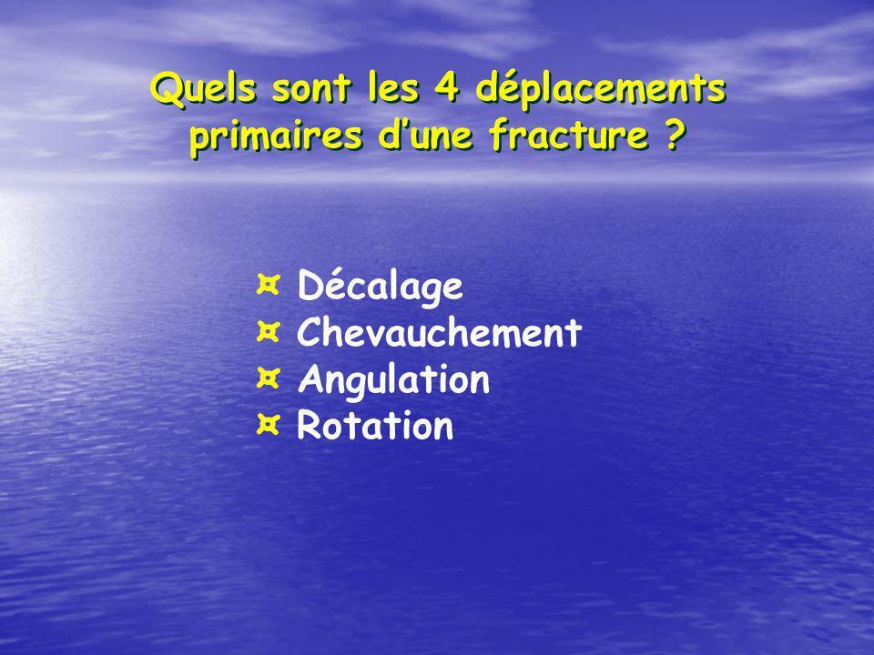 Quels sont les 4 déplacements primaires d'une fracture