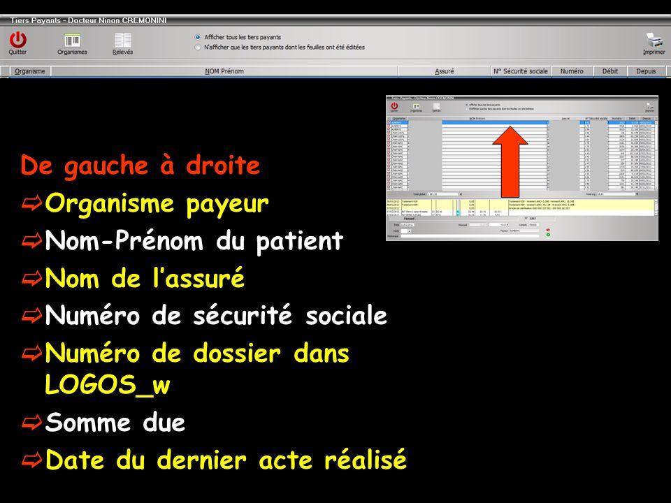 De gauche à droite Organisme payeur. Nom-Prénom du patient. Nom de l'assuré. Numéro de sécurité sociale.