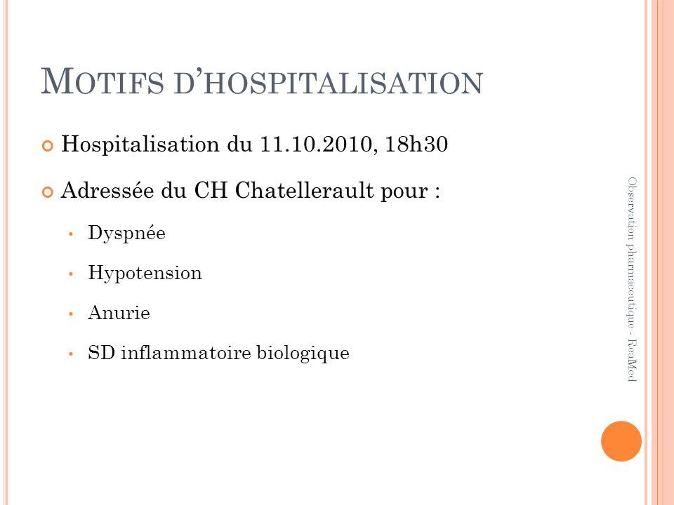 Motifs d'hospitalisation