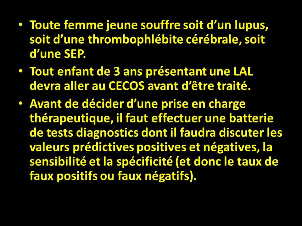 Toute femme jeune souffre soit d'un lupus, soit d'une thrombophlébite cérébrale, soit d'une SEP.
