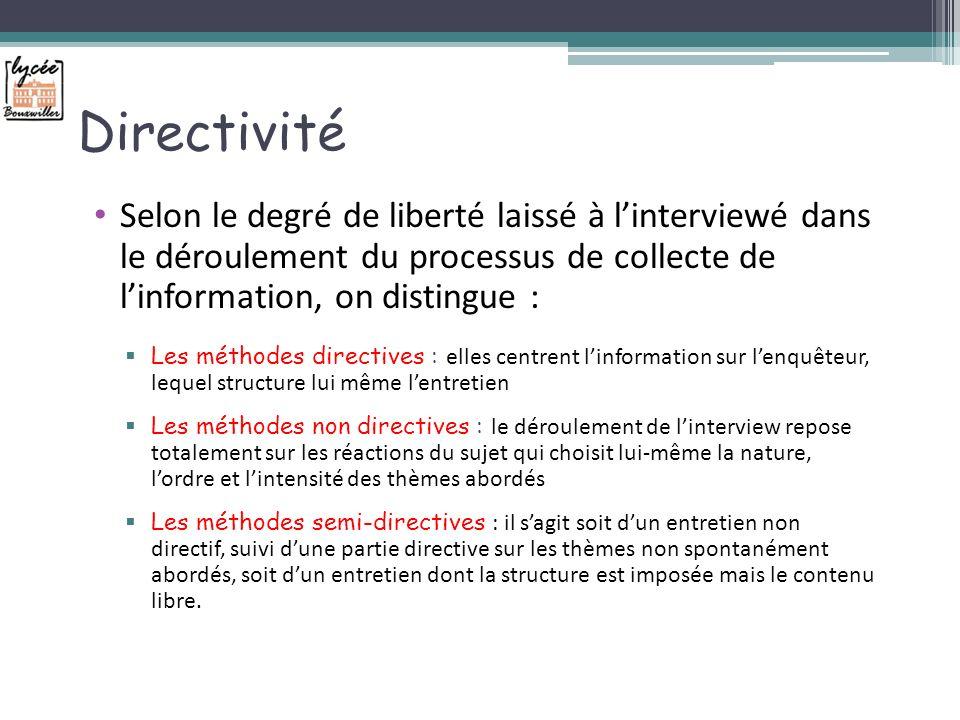Directivité Selon le degré de liberté laissé à l'interviewé dans le déroulement du processus de collecte de l'information, on distingue :