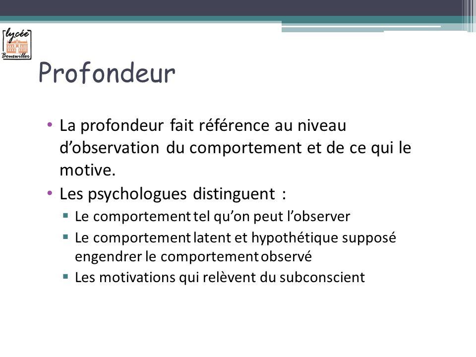 Profondeur La profondeur fait référence au niveau d'observation du comportement et de ce qui le motive.