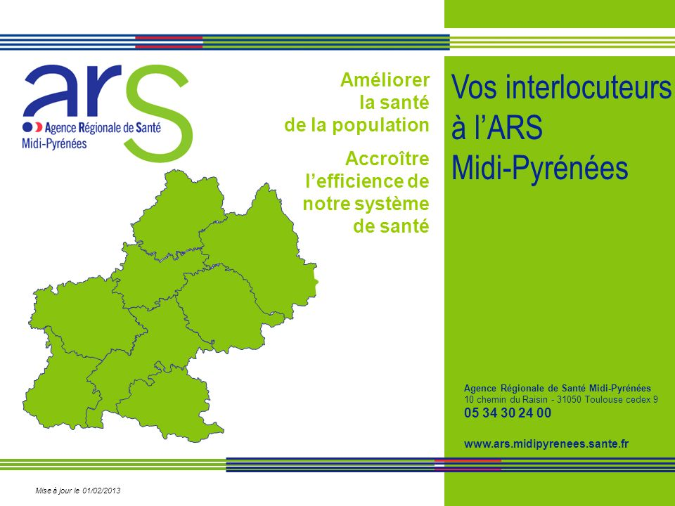 Vos interlocuteurs à l'ARS Midi-Pyrénées