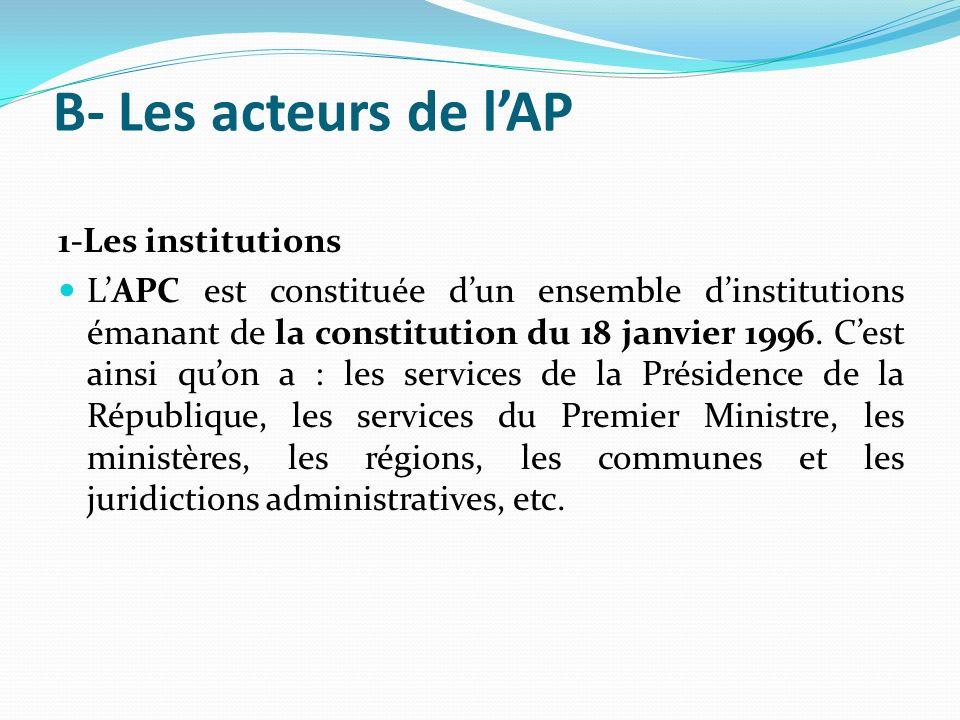 B- Les acteurs de l'AP 1-Les institutions