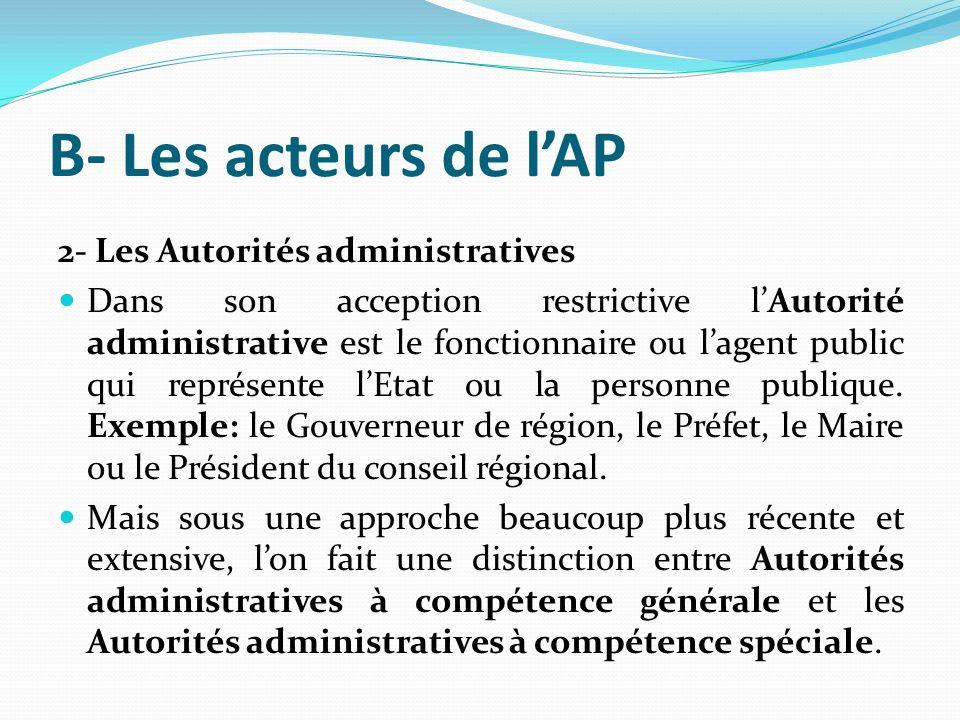 B- Les acteurs de l'AP 2- Les Autorités administratives
