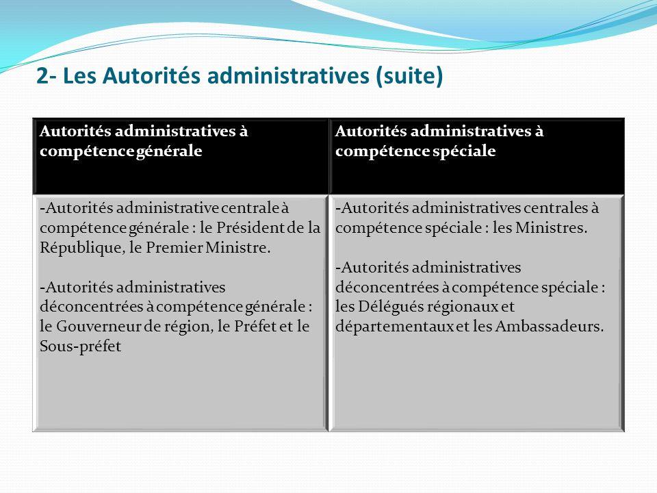 2- Les Autorités administratives (suite)