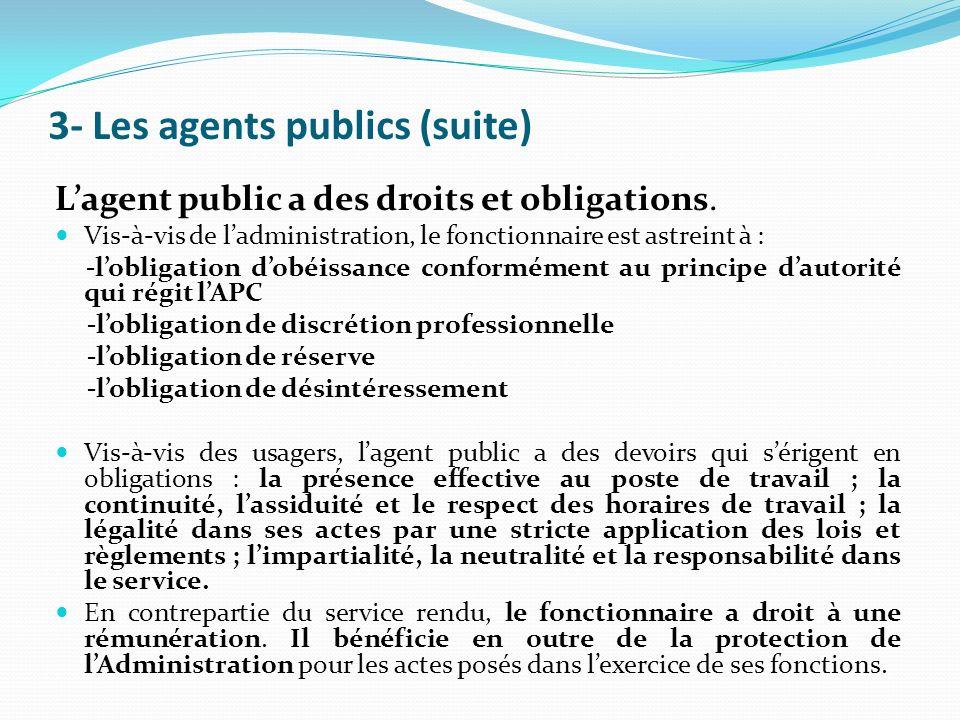 3- Les agents publics (suite)