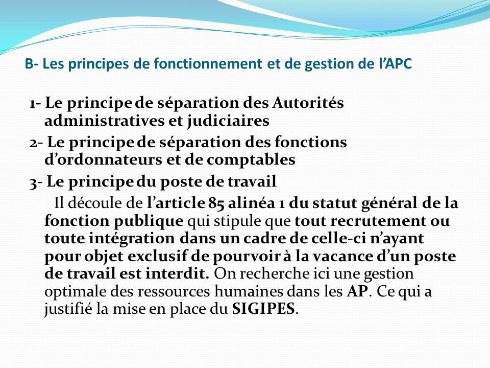 B- Les principes de fonctionnement et de gestion de l'APC