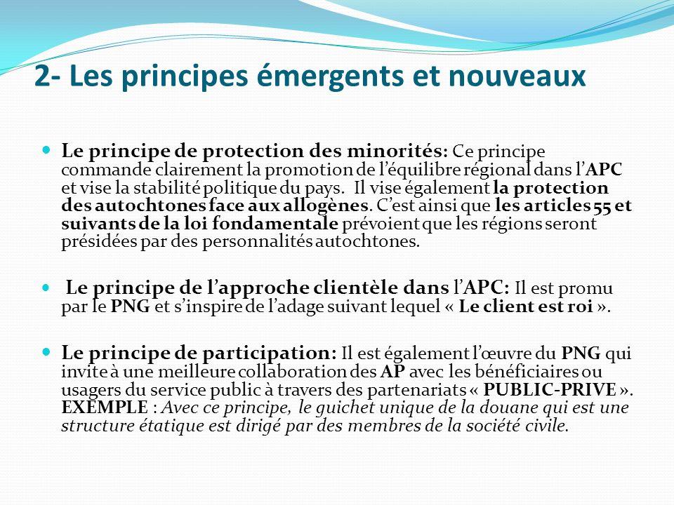 2- Les principes émergents et nouveaux