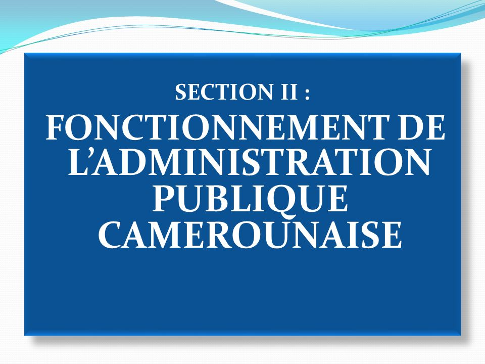 SECTION II : FONCTIONNEMENT DE L'ADMINISTRATION PUBLIQUE CAMEROUNAISE