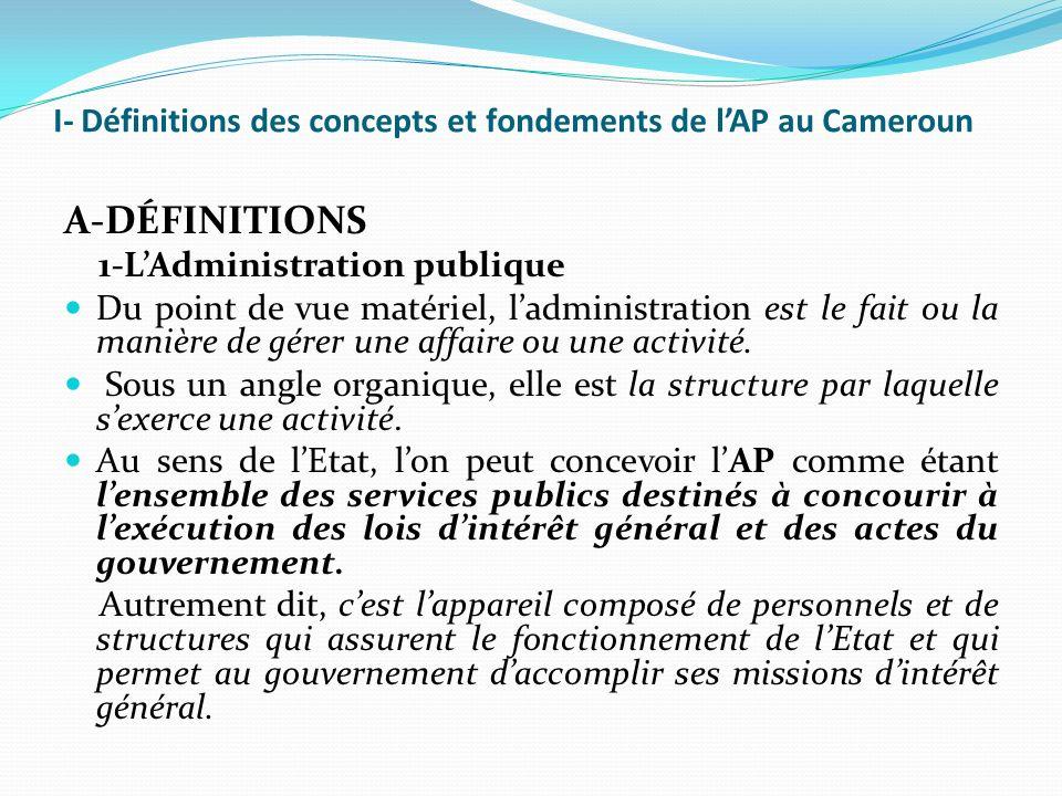 I- Définitions des concepts et fondements de l'AP au Cameroun
