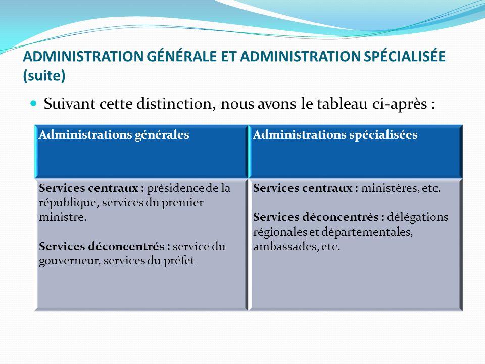 ADMINISTRATION GÉNÉRALE ET ADMINISTRATION SPÉCIALISÉE (suite)