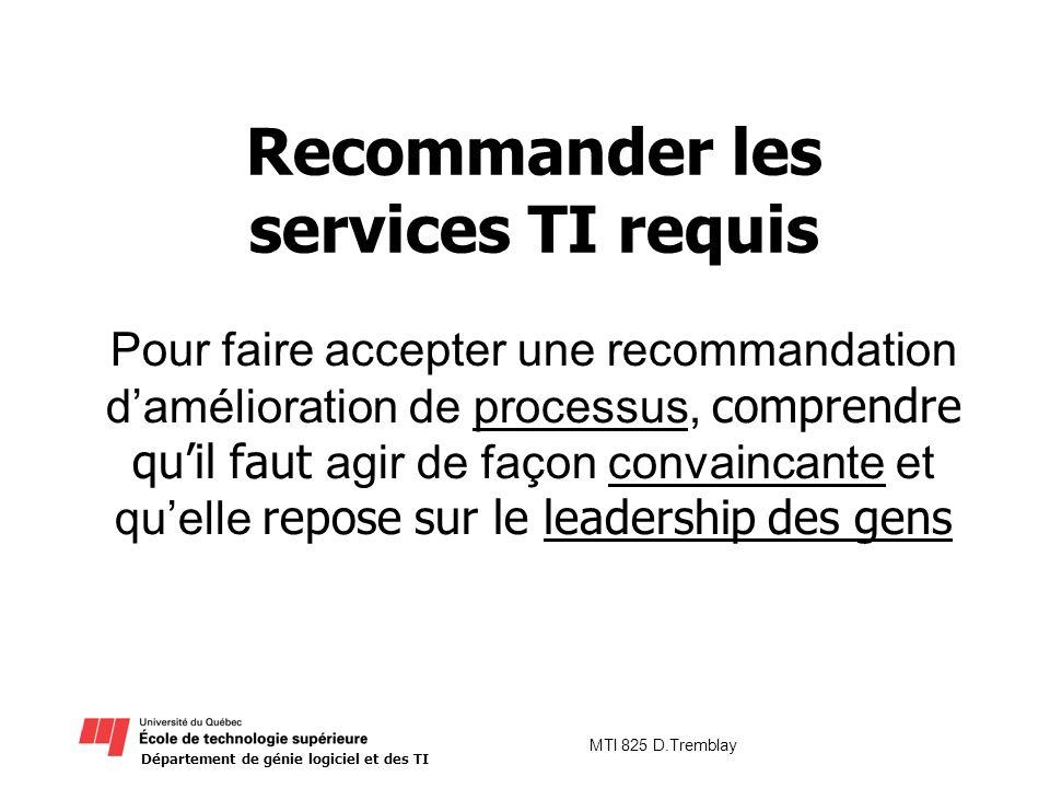 Recommander les services TI requis