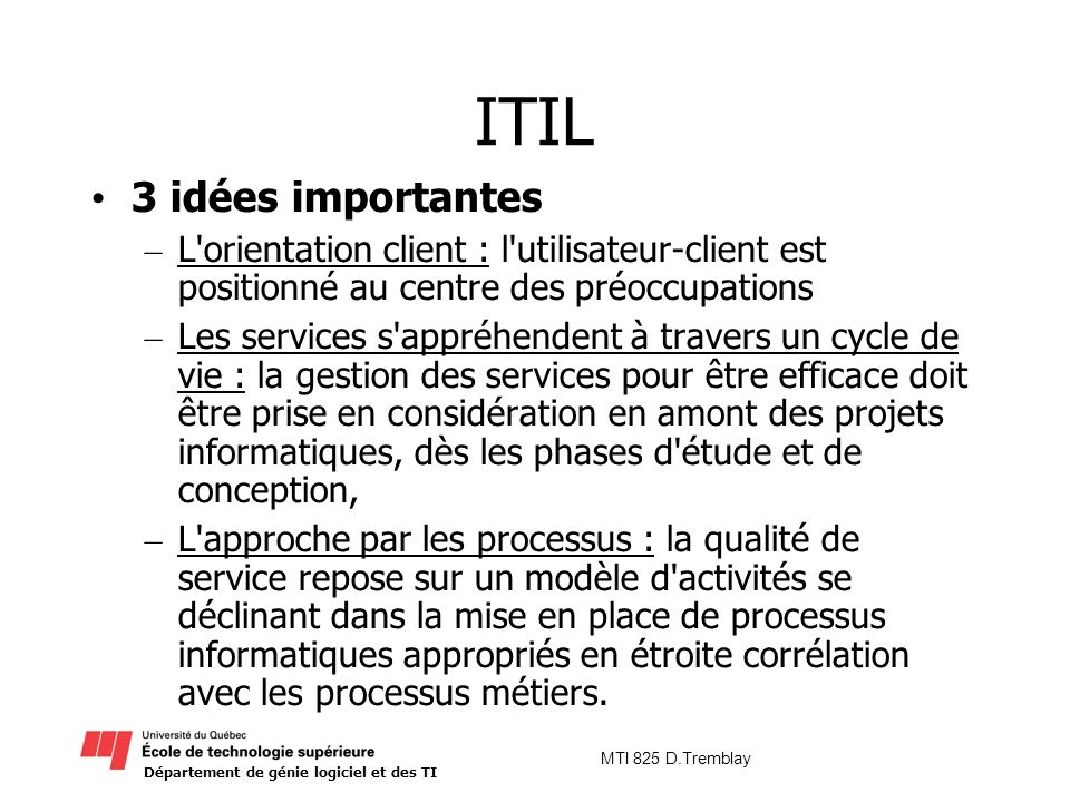 ITIL 3 idées importantes